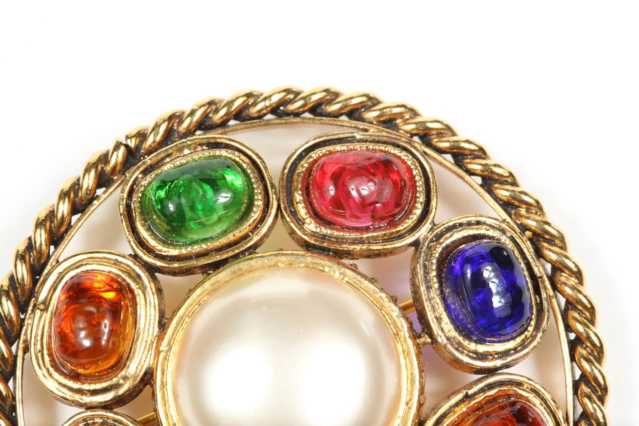 Chanel Colorful Poured Glass Brooch For Sale 1