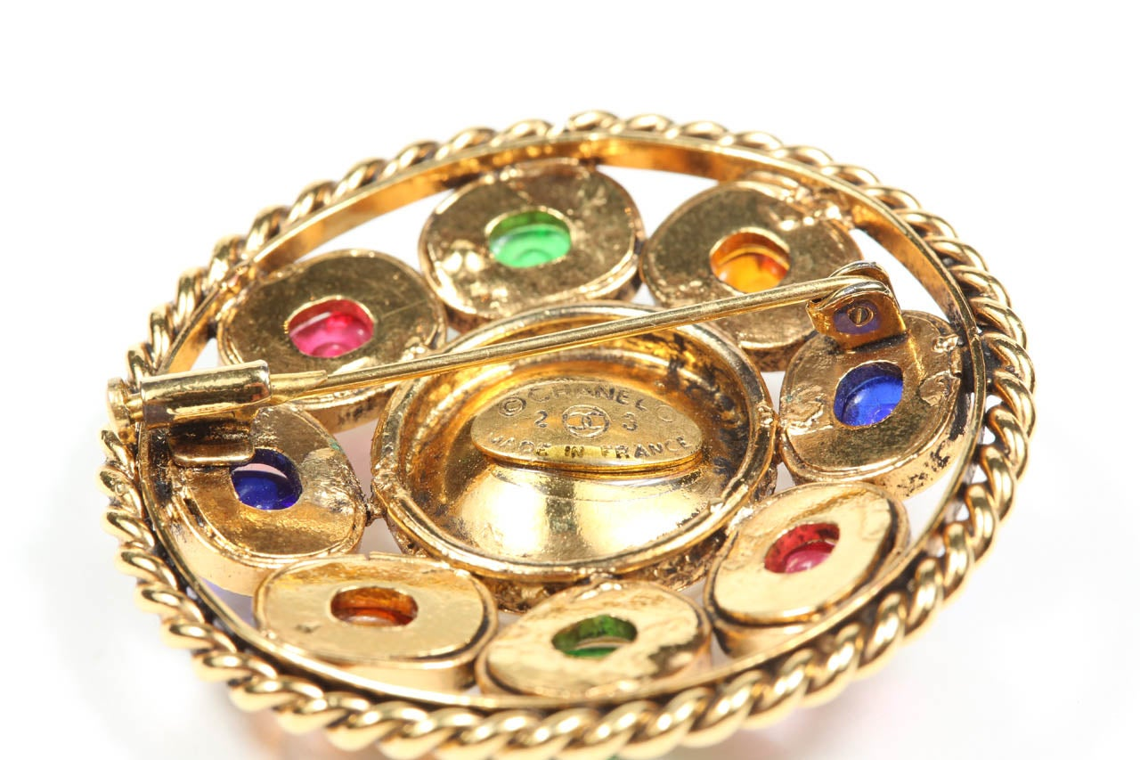 Chanel Colorful Poured Glass Brooch For Sale 2