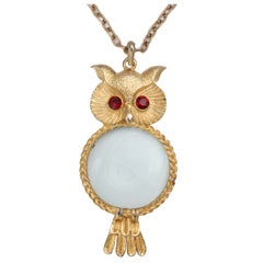 Magnifying Owl Pendant Necklace