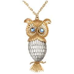 Two-tone Owl Pendant Necklace
