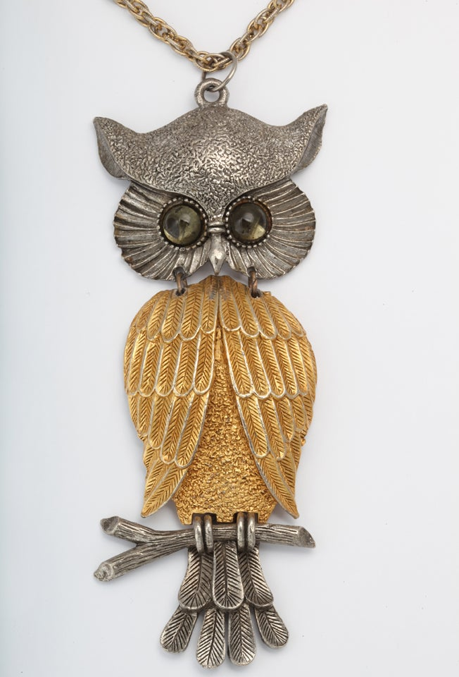 Large Silvertone and Goldtone Owl Pendant Necklace 2