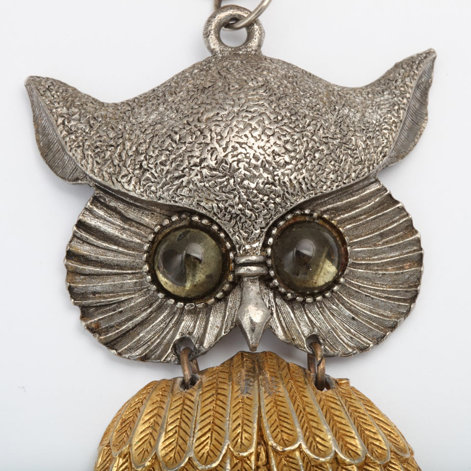 Women's Large Silvertone and Goldtone Owl Pendant Necklace For Sale