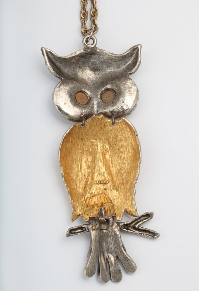 Large Silvertone and Goldtone Owl Pendant Necklace For Sale 2