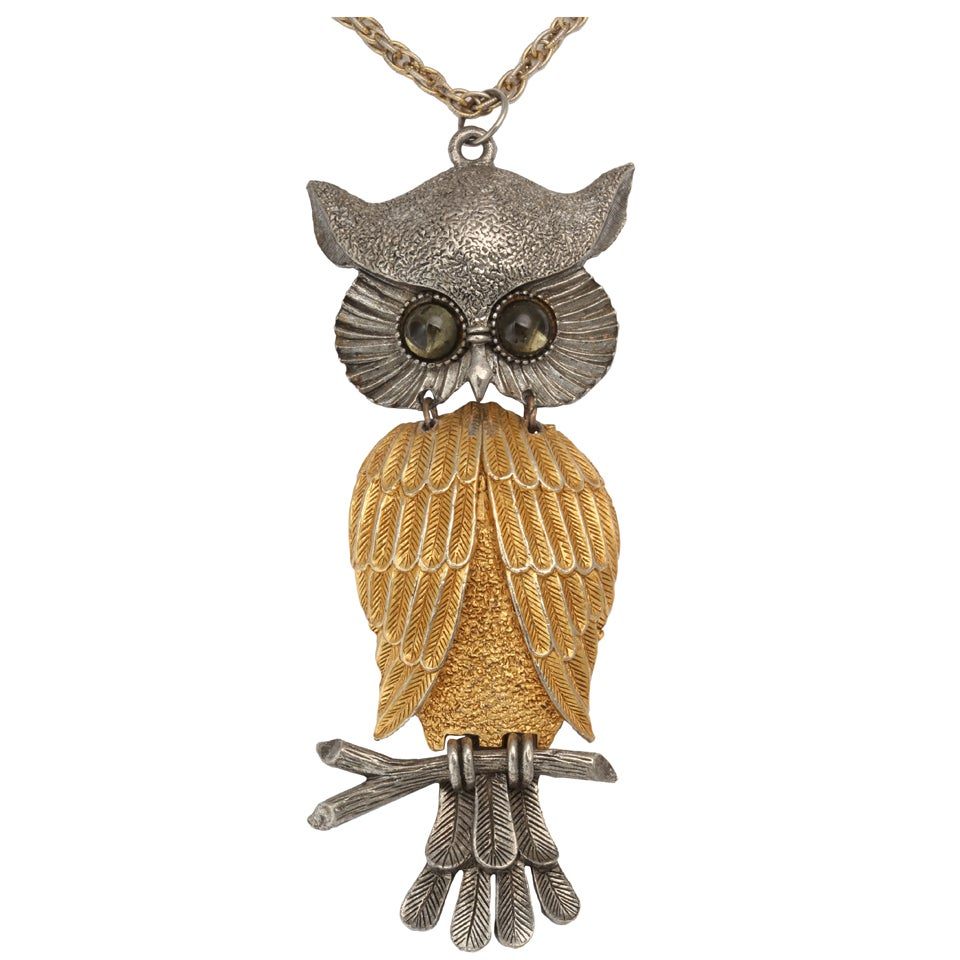 Large Silvertone and Goldtone Owl Pendant Necklace For Sale