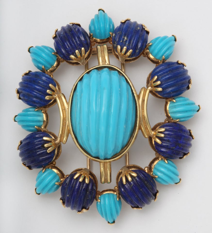 Melon Shaped Turquoise & Lapis  Egyptian Revival Brooch 2
