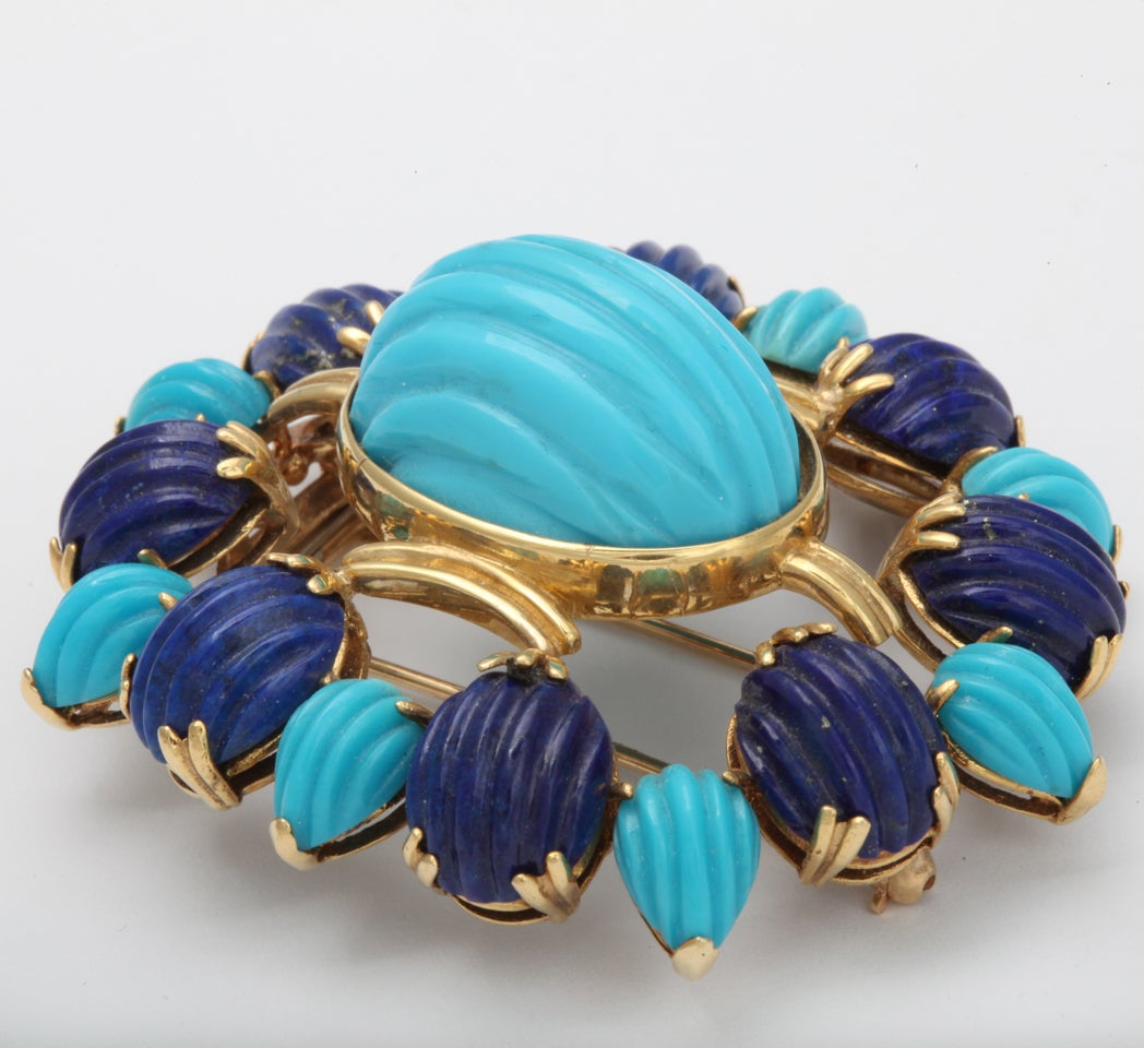 Melon Shaped Turquoise & Lapis  Egyptian Revival Brooch image 3