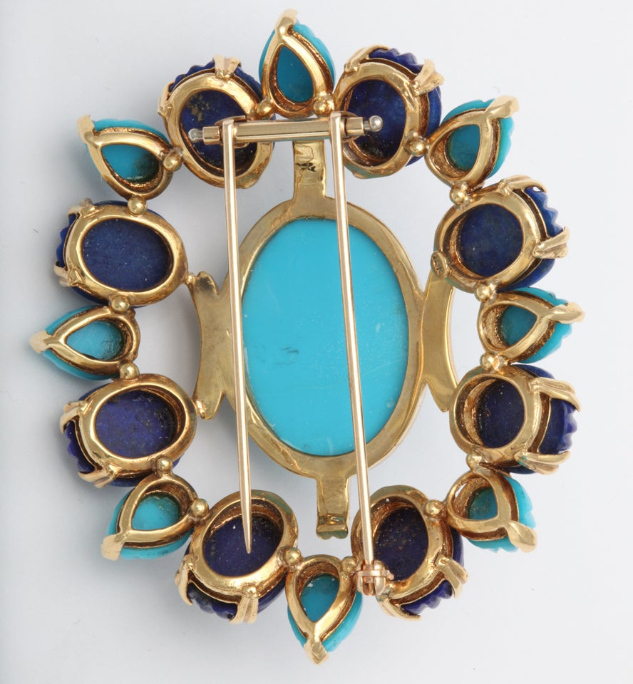 Melon Shaped Turquoise & Lapis  Egyptian Revival Brooch 4