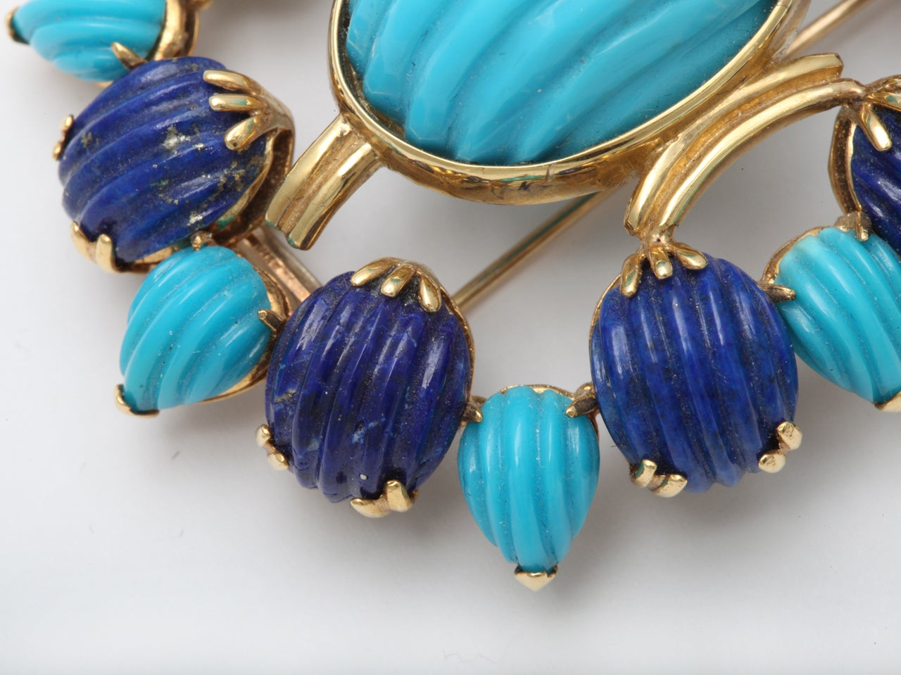 Melon Shaped Turquoise & Lapis  Egyptian Revival Brooch 5