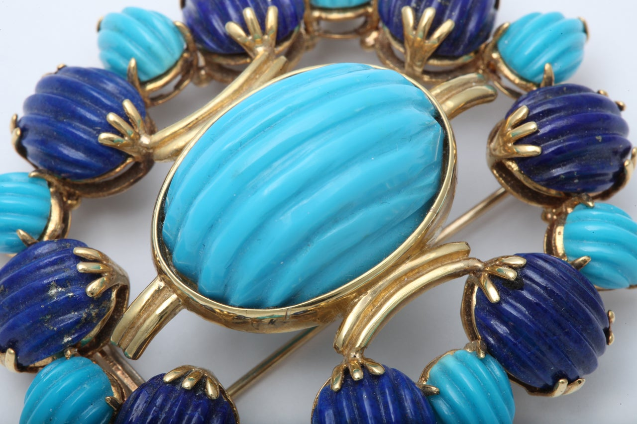 Melon Shaped Turquoise & Lapis  Egyptian Revival Brooch 6