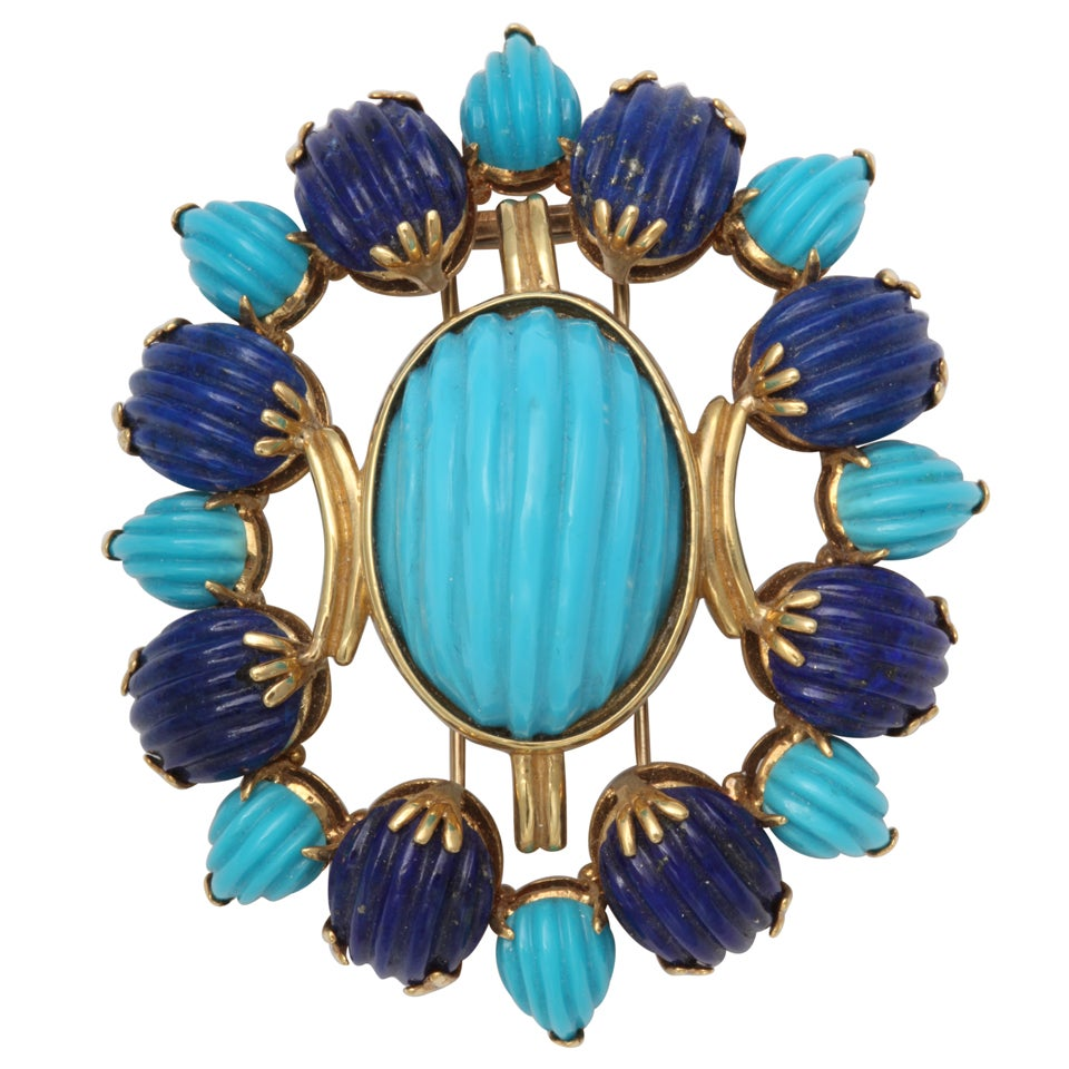 Melon Shaped Turquoise & Lapis  Egyptian Revival Brooch 1