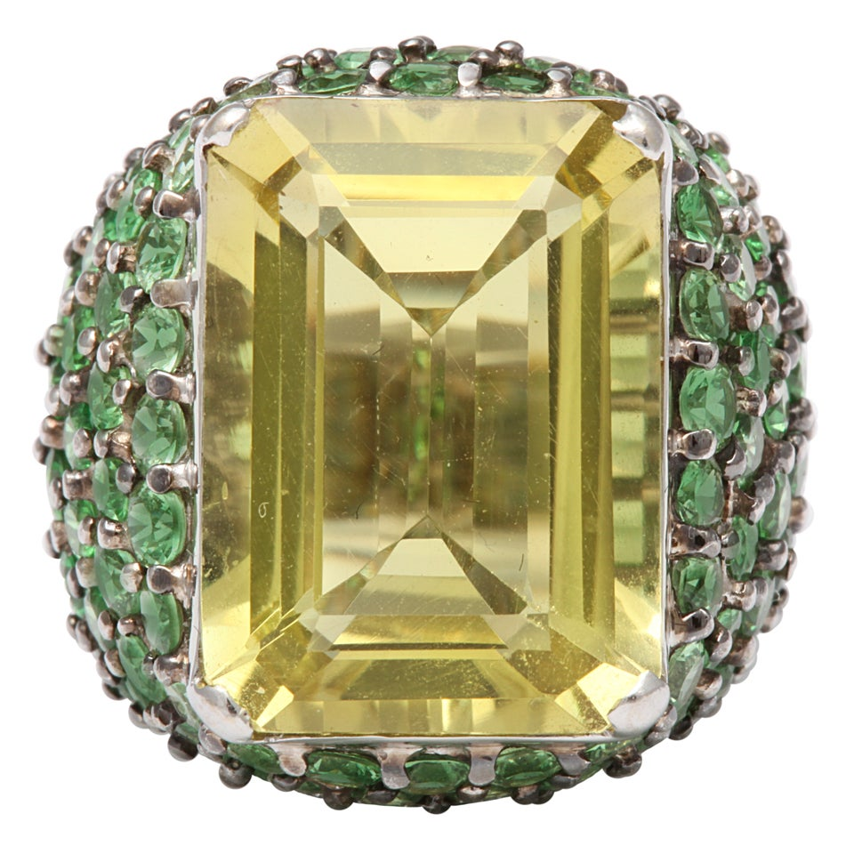 LEMON CITRINE & GRADED TSAVORITE RING