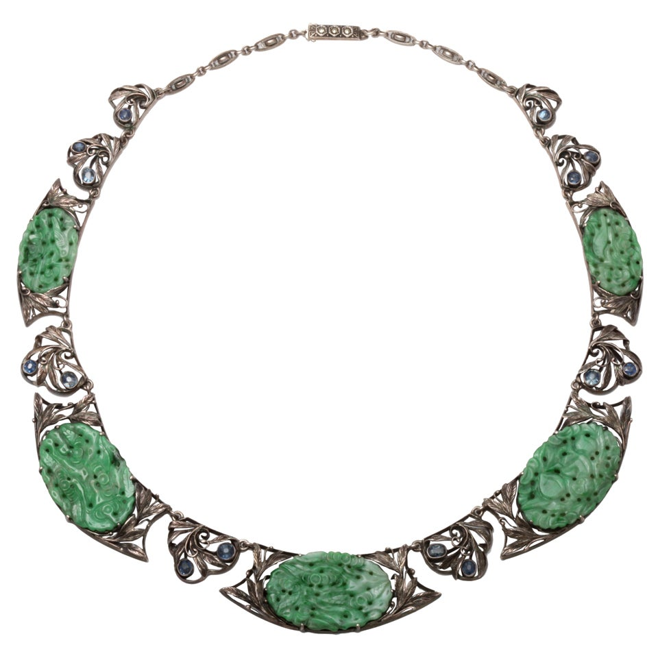 Antique jade sapphire necklace for Pictures of jade jewelry