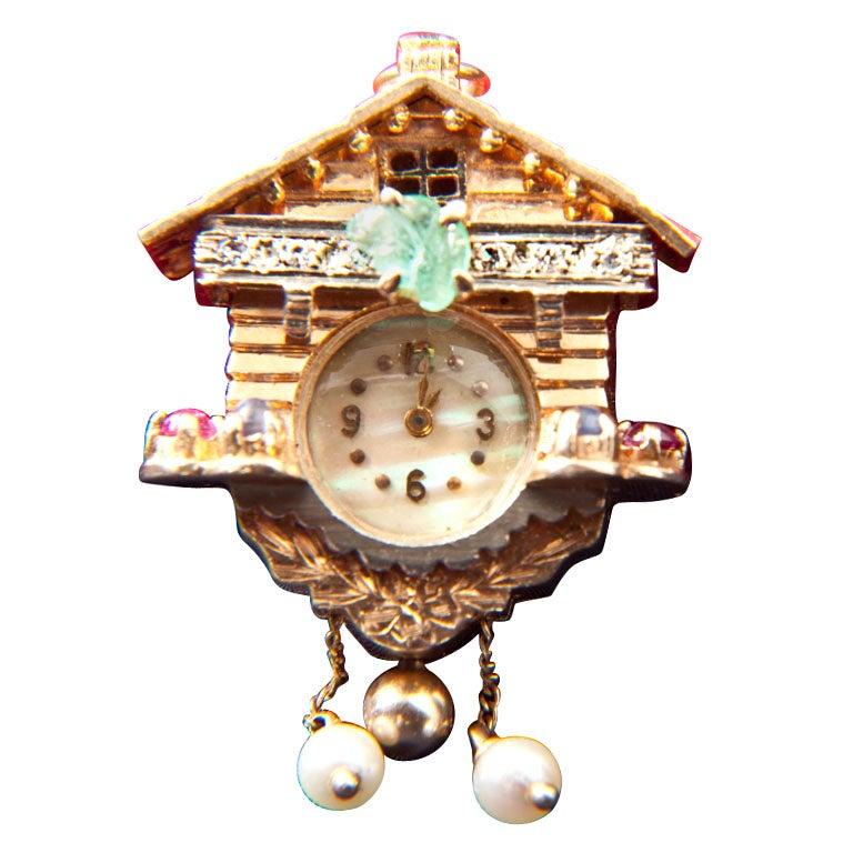 Gold cuckoo clock pendent watch at 1stdibs - Cuckoo watches ...