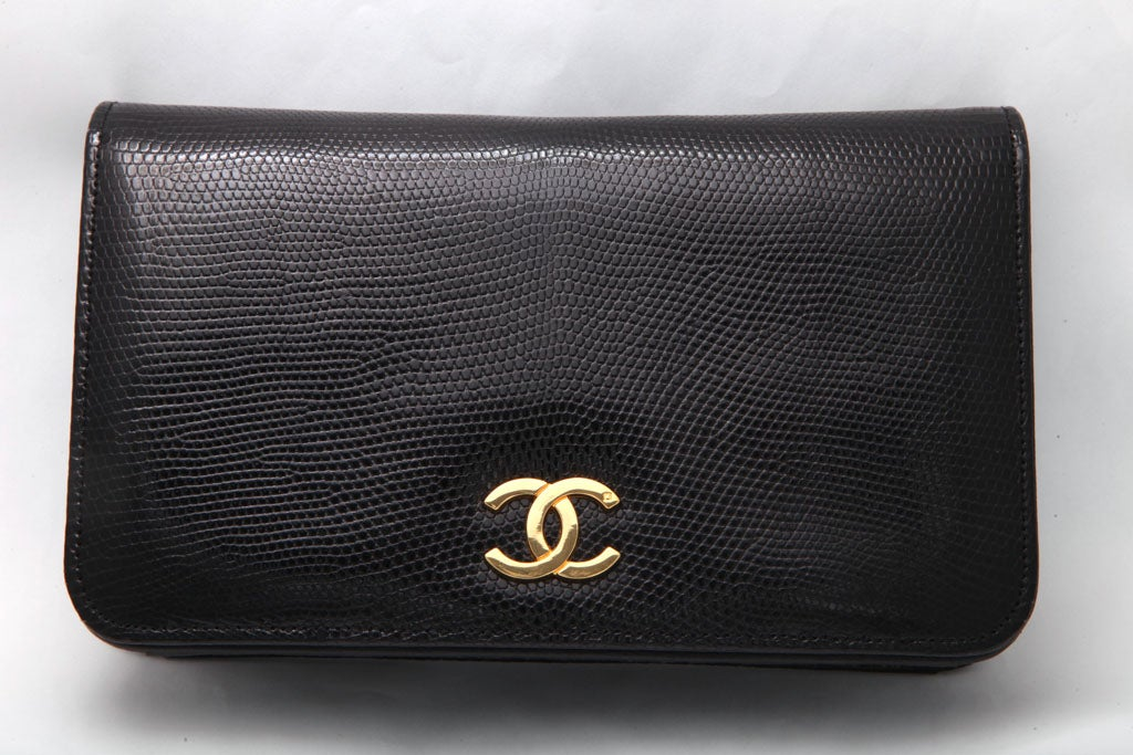 VINTAGE CHANEL BLACK LIZARD BAG / CLUTCH 2