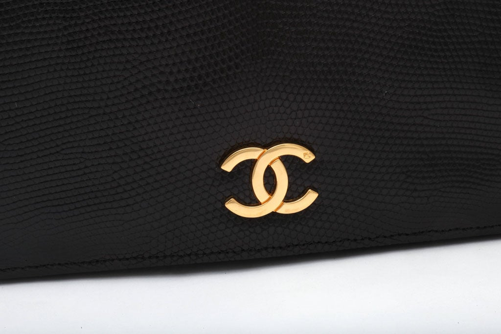 VINTAGE CHANEL BLACK LIZARD BAG / CLUTCH 4