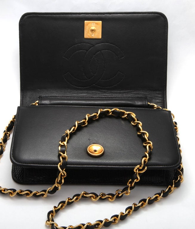 VINTAGE CHANEL BLACK LIZARD BAG / CLUTCH 8