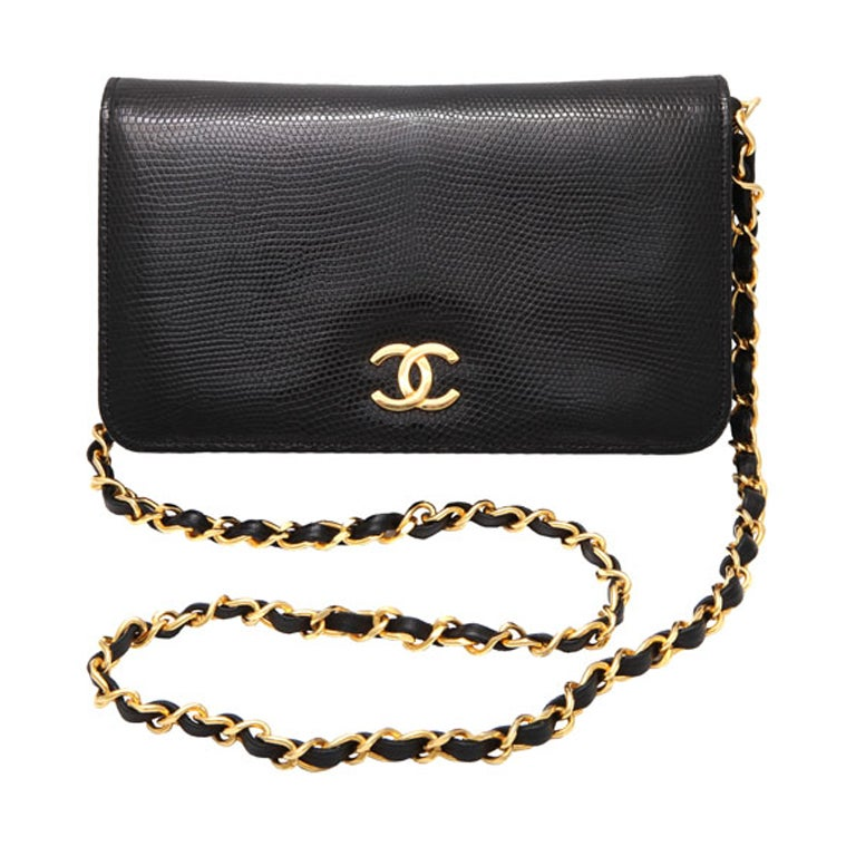VINTAGE CHANEL BLACK LIZARD BAG / CLUTCH 1