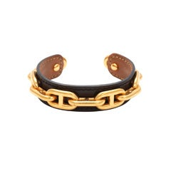 HERMES CHAIN MOTIF LEATHER BANGLE BLACK