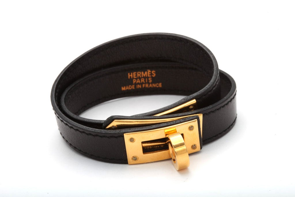 HERMES KELLY DOUBLE TOUR BRACELET BLACK/GOLD 3