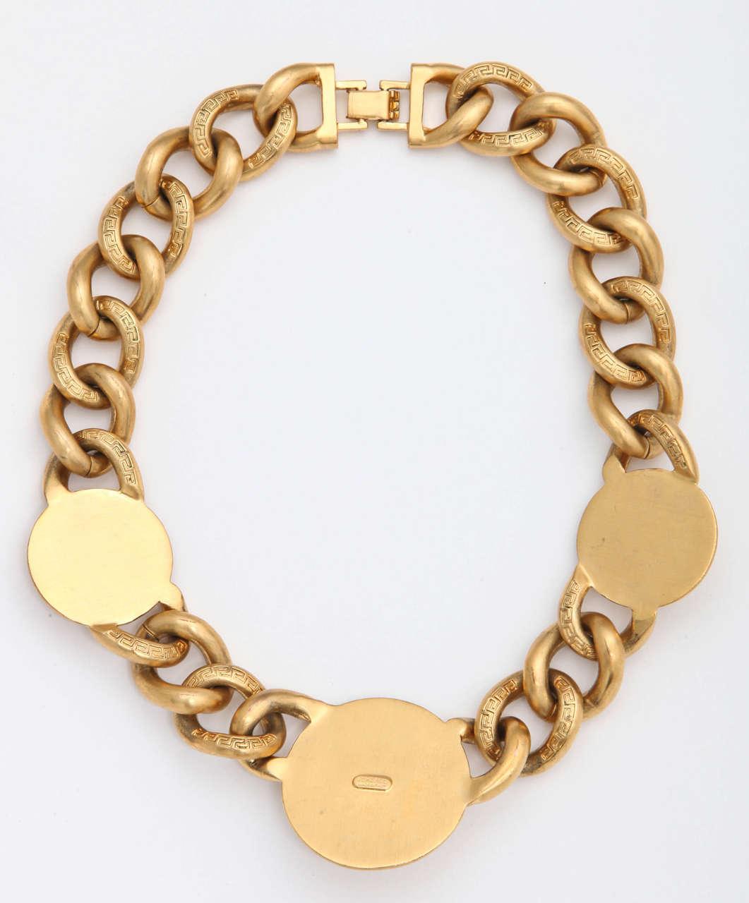 versace 3 medusa gold chain necklace image 4