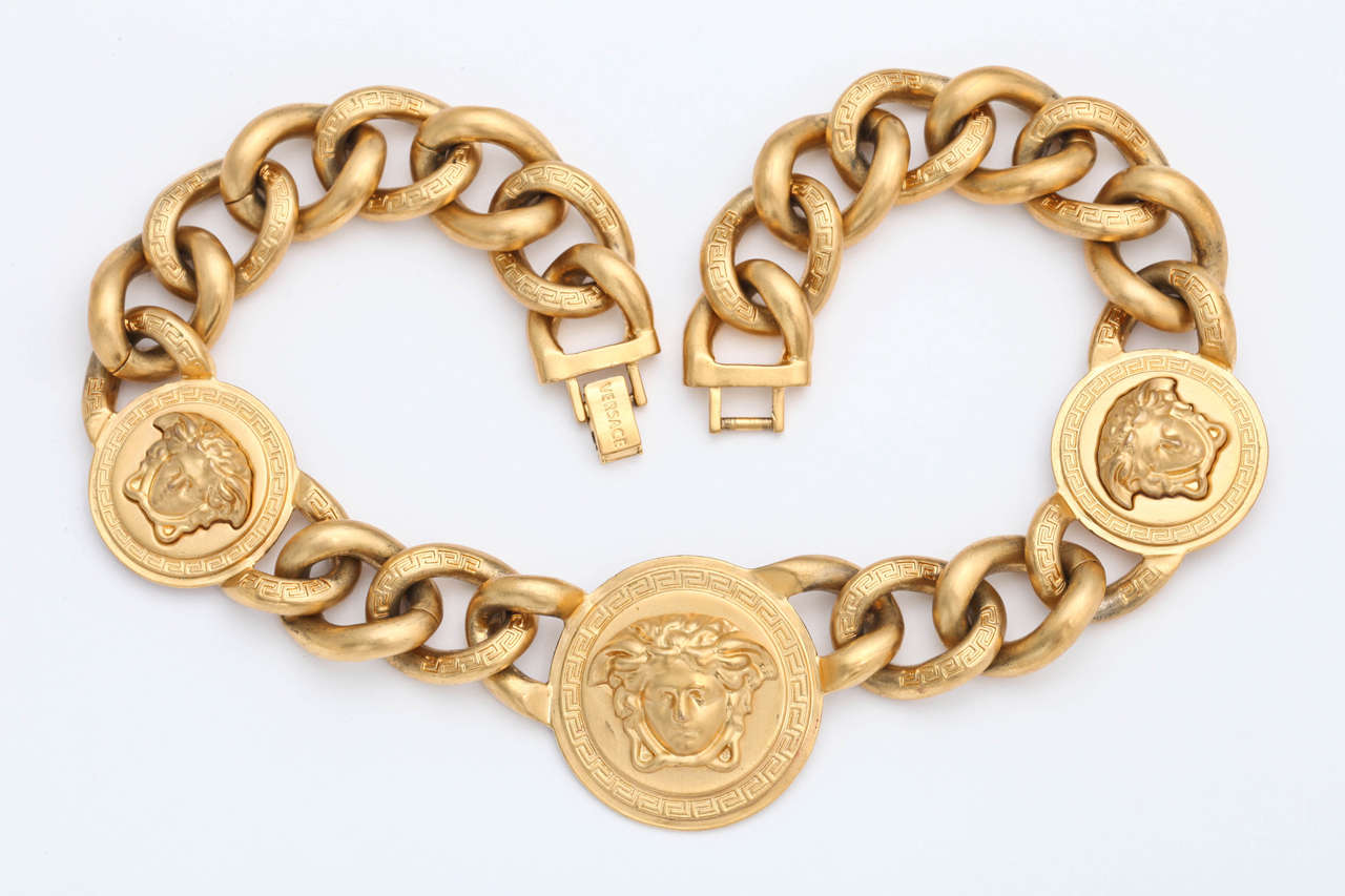 Versace 3 Medusa Gold Chain Necklace 9