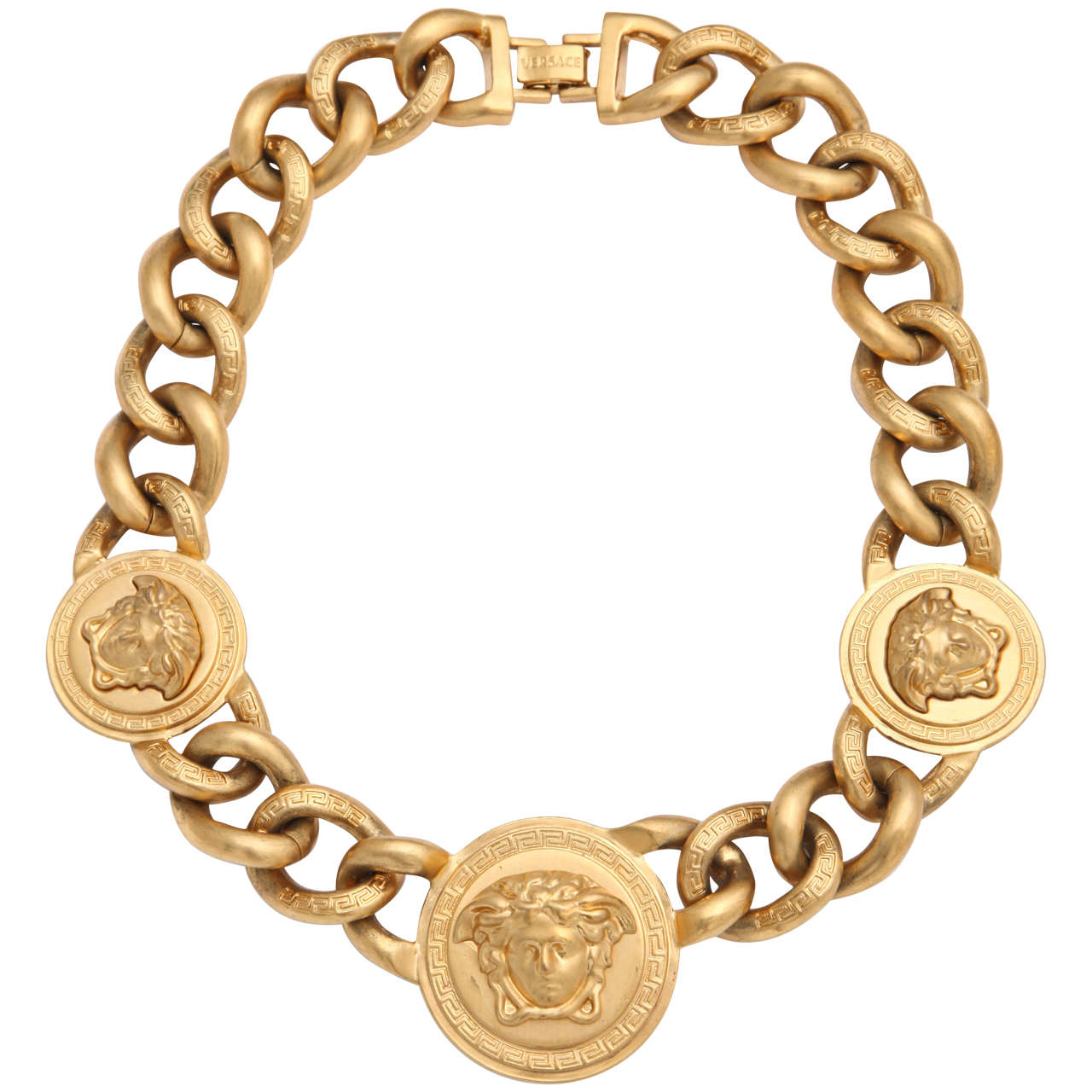 Versace 3 Medusa Gold Chain Necklace 1