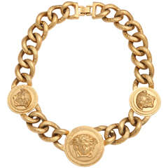 Versace 3 Medusa Gold Chain Necklace