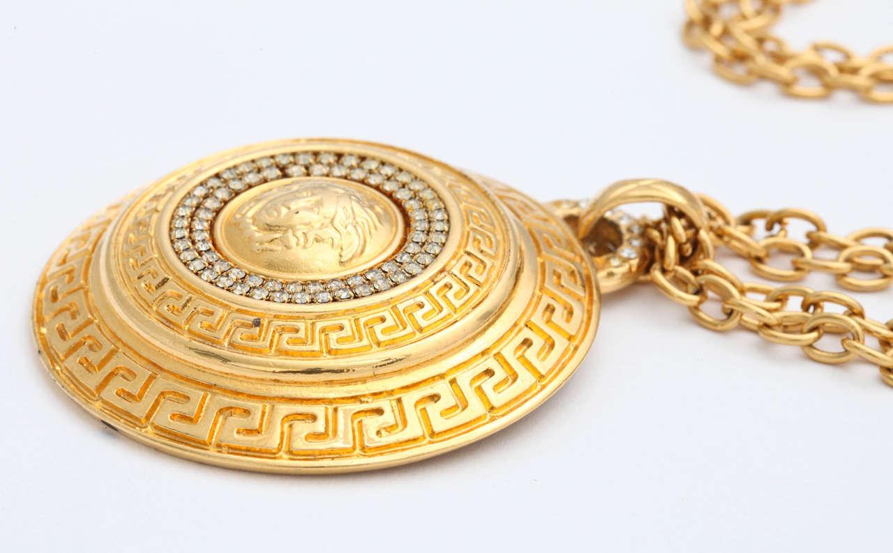 Gianni Versace Large Medallion Pendant Necklace with Medusa 4