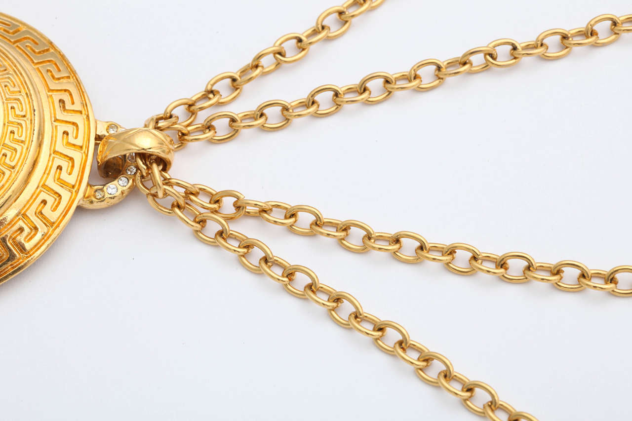 Gianni Versace Large Medallion Pendant Necklace with Medusa 6