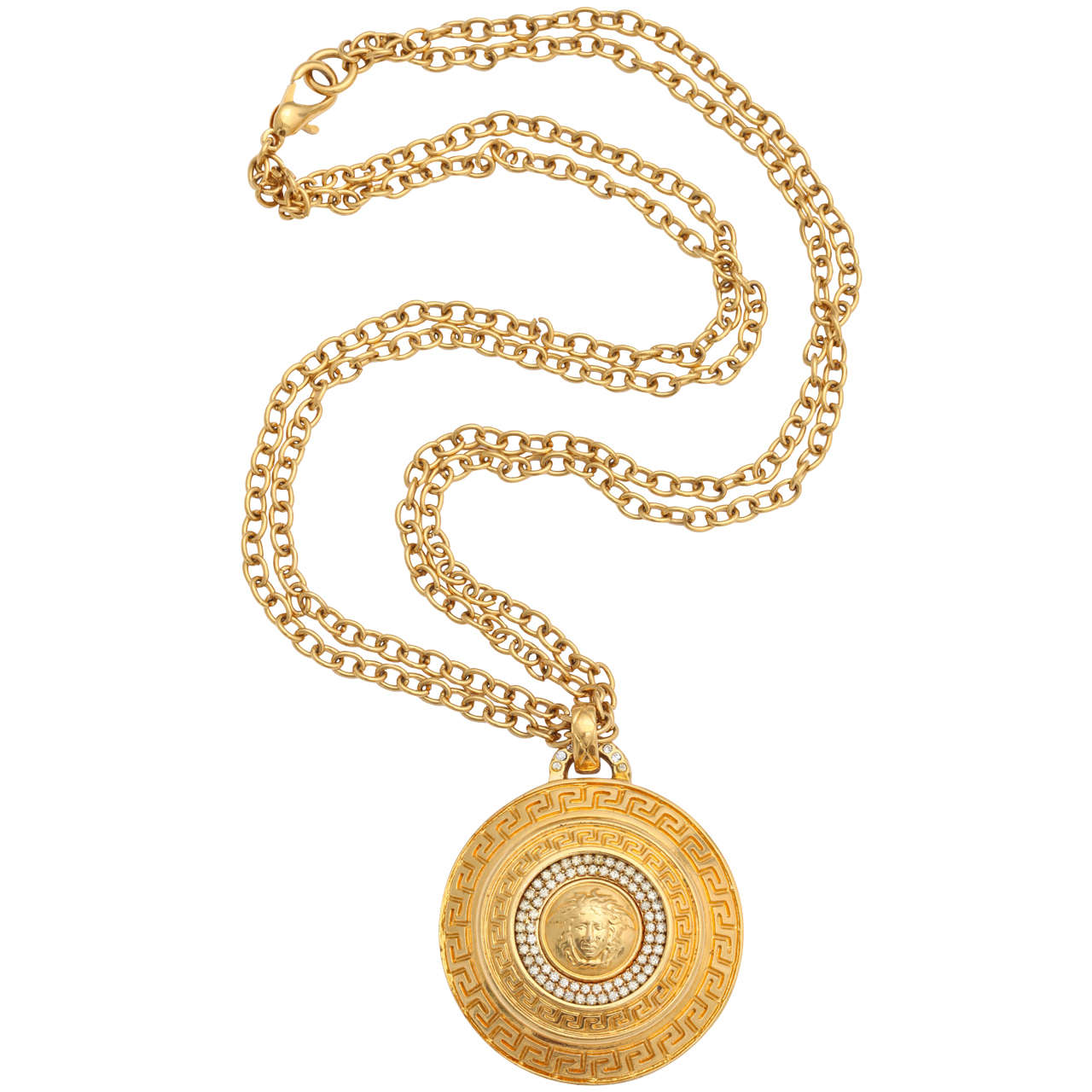 diamond head medallion unique pendant medusa style versace gold