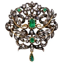 Georgian Emerald and Diamond Silver Over Gold Brooch