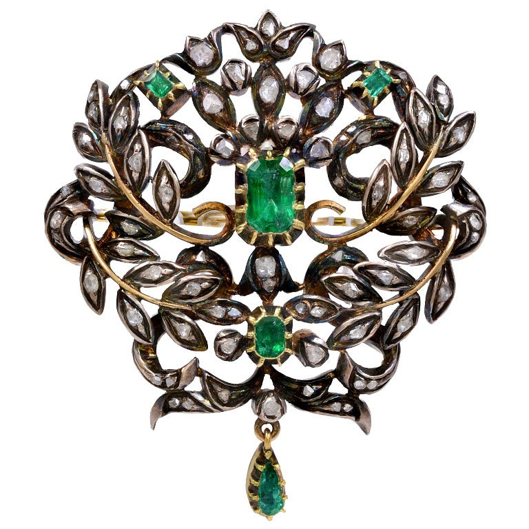 Georgian Emerald and Diamond Silver Over Gold Brooch