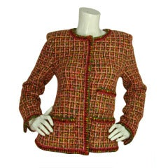 CHANEL Pink/Green/Peach Tweed Jacket With Front Pockets - Sz 40