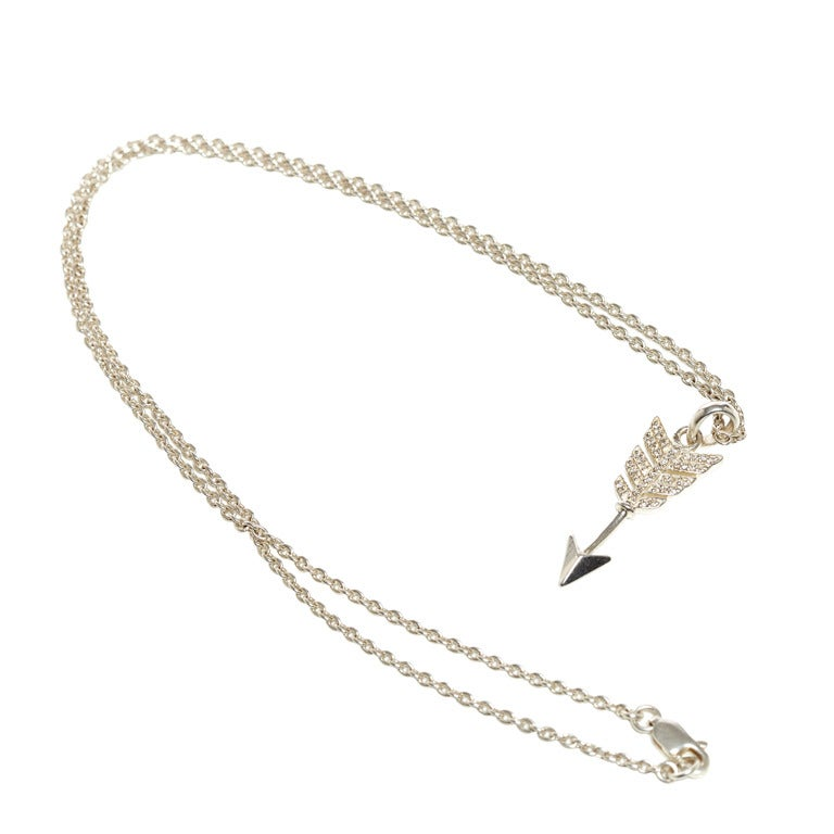Jade Jagger Diamond Arrow Pendant Necklace with Chain For Sale