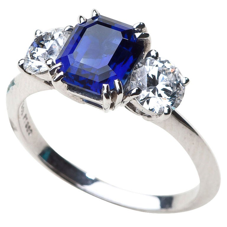 TIFFANY Diamond and Sapphire Engagement Ring 1990 s at 1stdibs