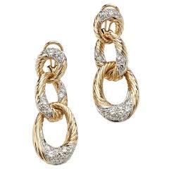 Hammerman Diamond Gold Drop Earrings