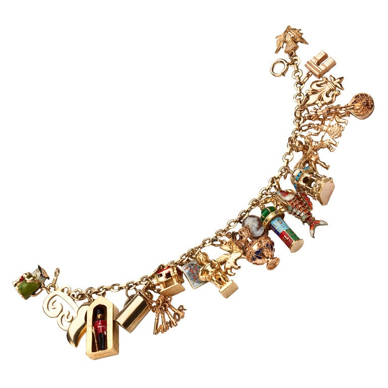 1950s travel related gold charm bracelet at 1stdibs