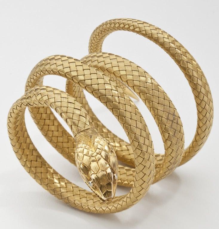Antique Gold Snake Bracelet at 1stdibs