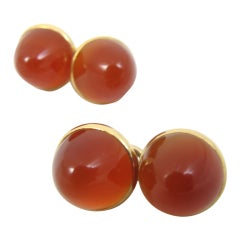 Gold and Cabochon Carnelian Cufflinks