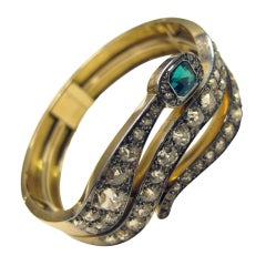 Gold Snake Bangle with Diamonds and Emerald