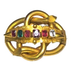 "Gilt Metal and Paste ""Regard"" Brooch"