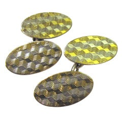 Art Deco Silver and Gold Oval Cufflinks