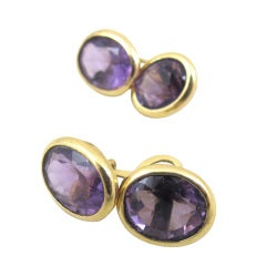 Amethyst and Gold Cufflinks