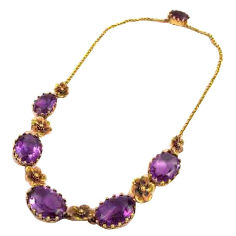 edwardian amethyst gold necklace with floral detail at 1stdibs