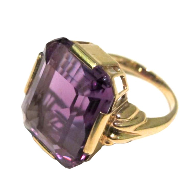 deco amethyst gold emerald cut cocktail ring at 1stdibs