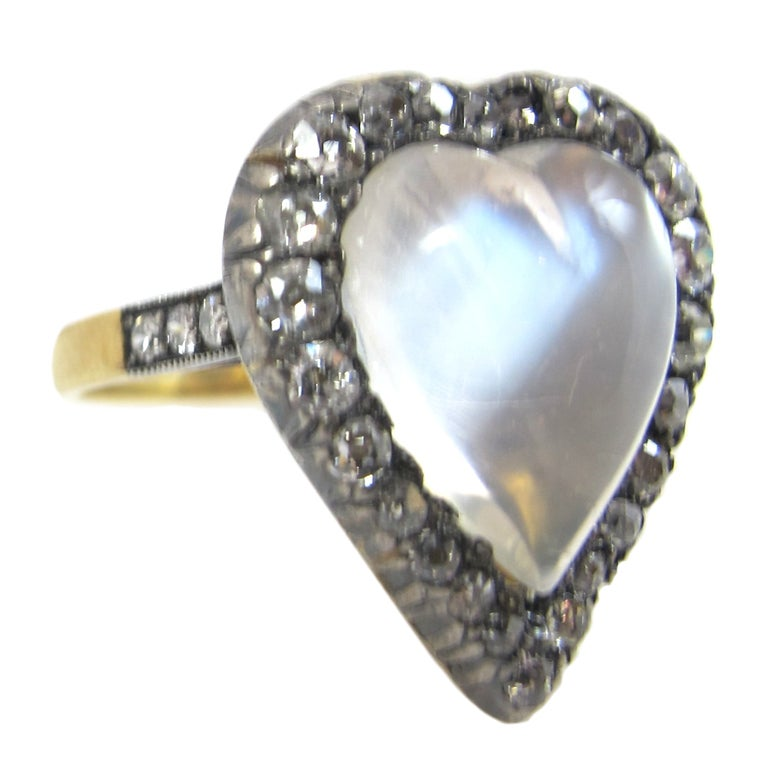 Moonstone And Diamond Heart Shaped Ring At 1stdibs