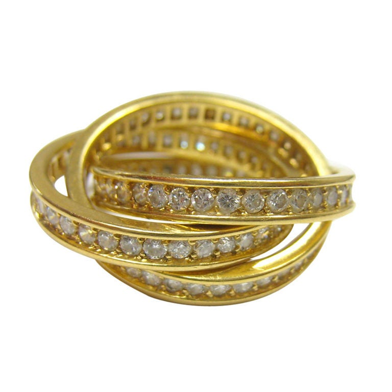cartier yellow gold and rolling ring at 1stdibs
