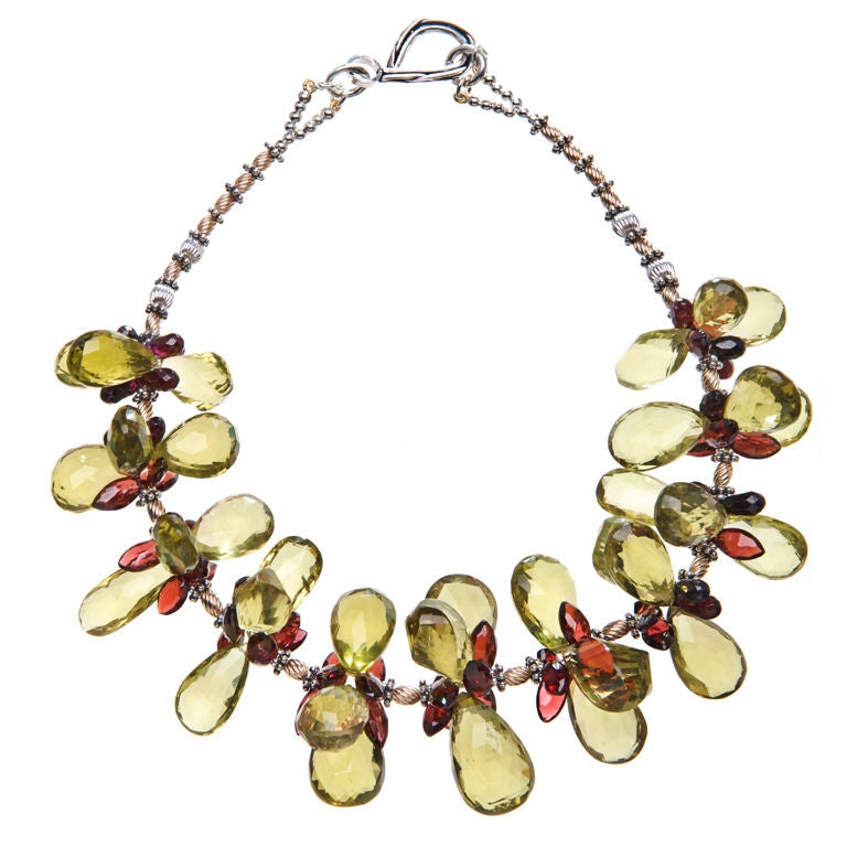 Deborah Liebman Lemon Quartz and Garnet Necklace Yellow Gold and Sterling Silver For Sale