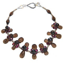 Smoky Quartz and Garnet Necklace with Yellow Gold and Sterling Silver