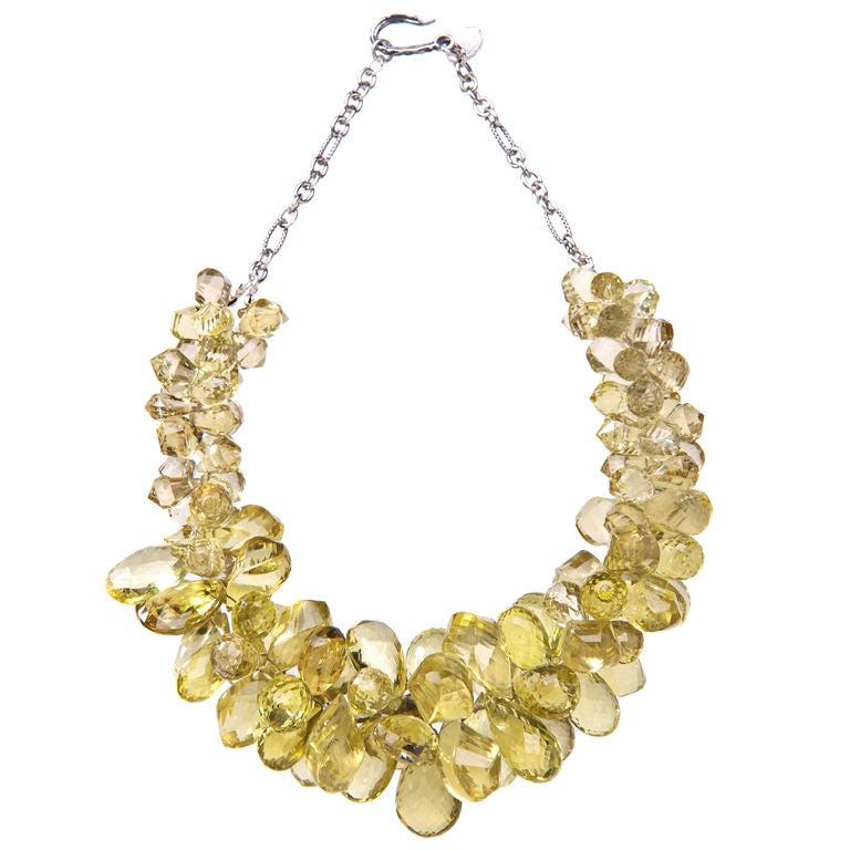Deborah Liebman Golden Green Quartz Sterling Silver Necklace
